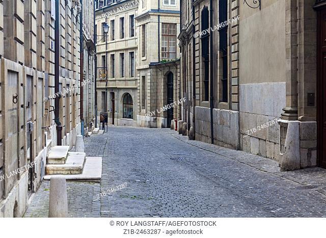 A quiet street in the old town of Geneva, Switzerland