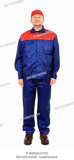 Worker in red-blue workwear. Isolated on a white background