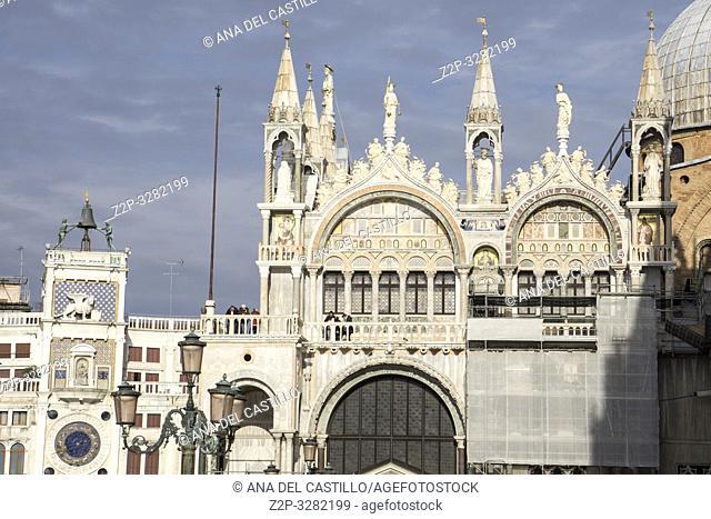 Venice Veneto Italy on January 21, 2019: St Mark's Basilica (San Marco) at St Marks square