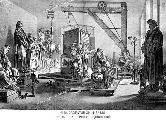 Luther memorial in the ziseliersaal, a hall in the lauchhammer art foundry, historical engraving, 1888
