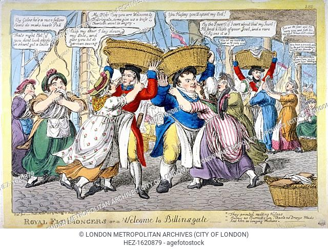 'Royal fishmongers, or a welcome to Billingsgate', 1816. Royal fishmongers being accosted by bawdy women at Billingsgate Market