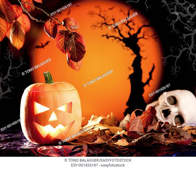 Halloween orange pumpkin lantern with autumn leaves
