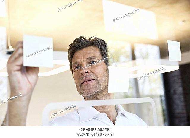 Mature businessman writing on sticky notes at glass pane in office