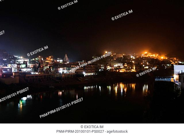 Buildings and temples at the waterfront, Ganges River, Rishikesh, Dehradun District, Uttarakhand, India