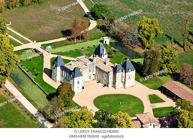 France, Gironde, Margaux, Chateau d'Issan,3rd growth Margaux aerial view