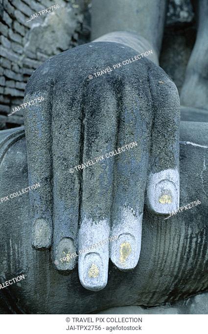 Wat Si Chum / Seated Buddha / Detail of Hand   , Sukhothai, Thailand