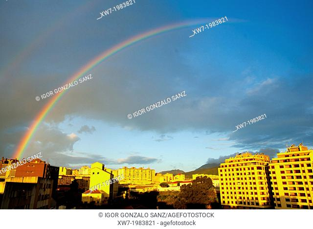 Double rainbow at the sunrise of the city of Ceuta (Spain, Europe, Africa)