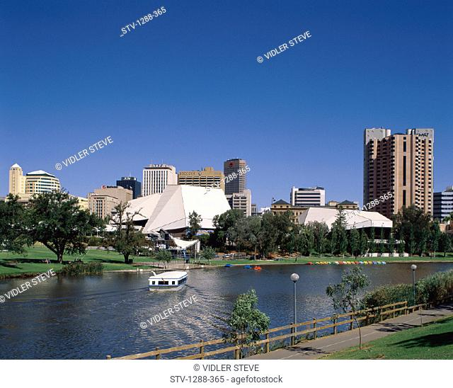 Adelaide, Australia, Boat, Buildings, City, Holiday, Landmark, Murray river, Skyline, Skyscrapers, Tourism, Travel, Vacation