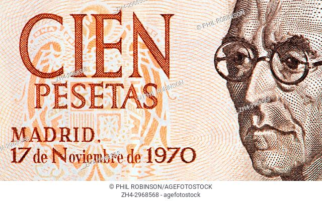 Detail from a 1970 100 peseta Spanish banknote showing Manuel de Falla y Matheu (1876-1946: Spanish composer)