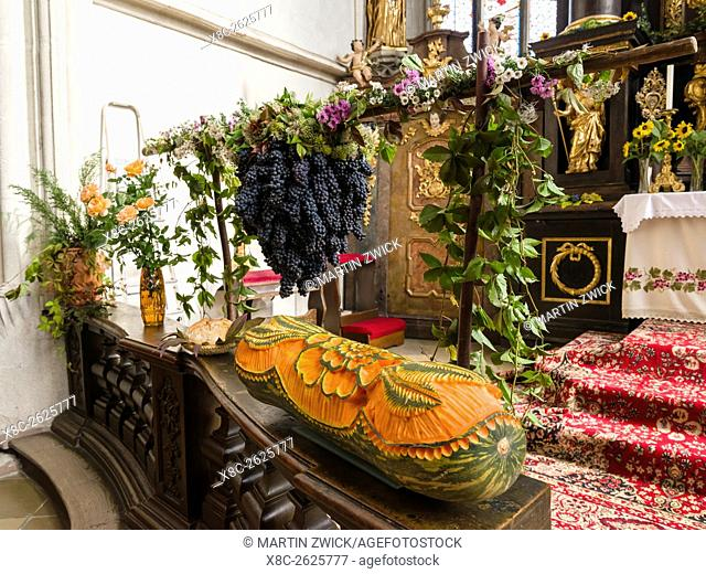 Thanksgiving in the village Spitz in the Wachau. The offerings in the catholic church. The Wachau is a famous vineyard and listed as Wachau Cultural Landscape...
