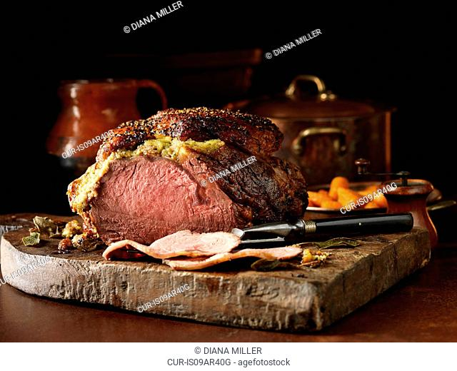 Carved fore rib of beef