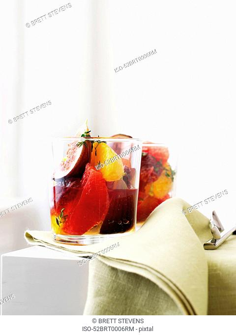 Glasses of stewed fruit