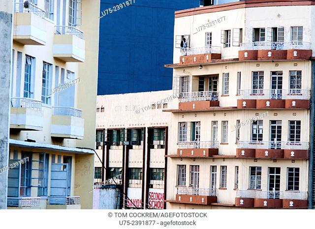 Buildings on corner of Latema and Dubois Streets, downtown Nairobi, Kenya