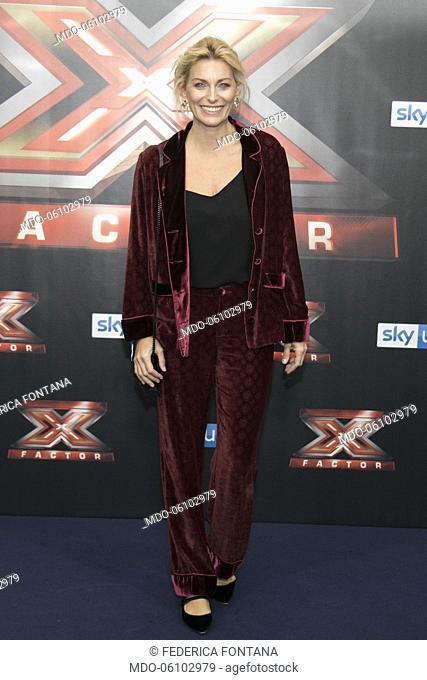 Italian showgirl Federica Fontana attends at photocall of the final night of the talent show X-Factor 2018 at the Assago Forum