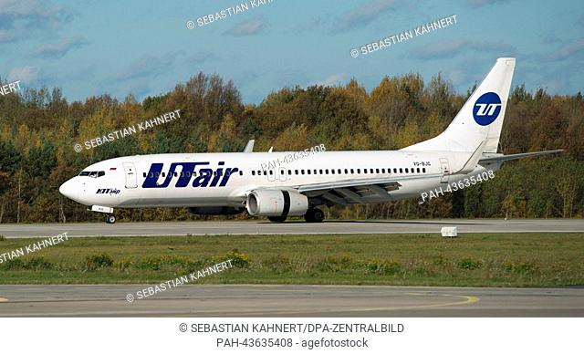 A Boeing 737-800 aircraft of the Russian airline UTair arrives at the Dresden International Airport in Dresden, Germany, 27 October 2013