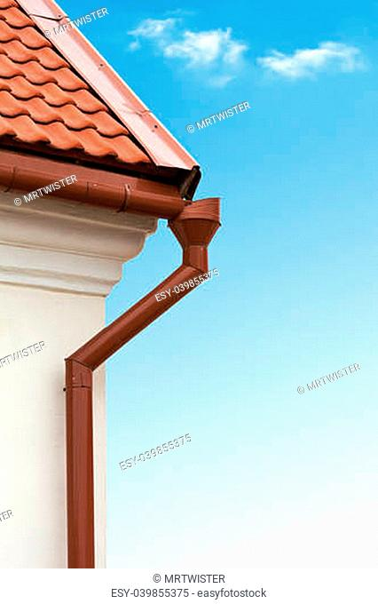 Red tiled roof and gutter