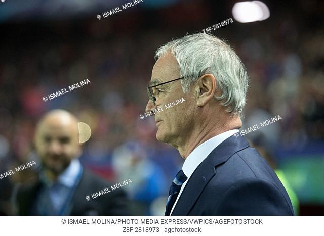 Claudio Ranieri of Leicester FC in action during the match between Sevilla FC vs Leicester as part of 1/8 round UEFA Champions League at Estadio Ramón...