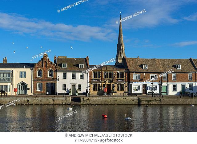 St Ives waterfront with Great Ouse river, Cambridgeshire, England, UK