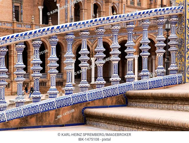 Railing made of porcelain, detail, on the Plaza de Espana square in Seville, Andalusia, Spain, Europe