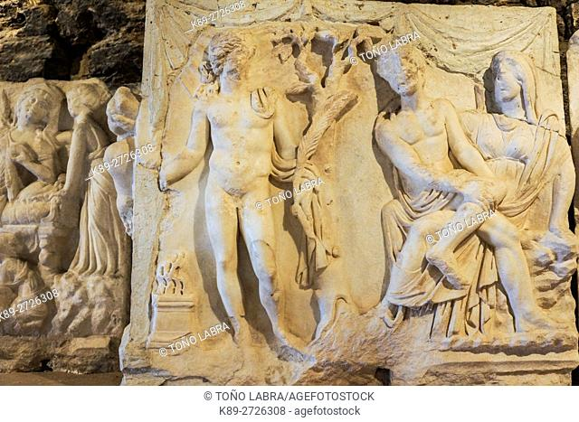 Theater Reliefs. Hierapolis Museum. Ancient Greece. Asia Minor. Turkey