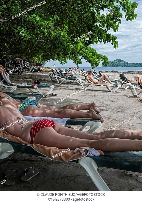 Vacationists relaxing at Occidental Grand Papagayo Resort beach,Guanacaste, Costa-Rica
