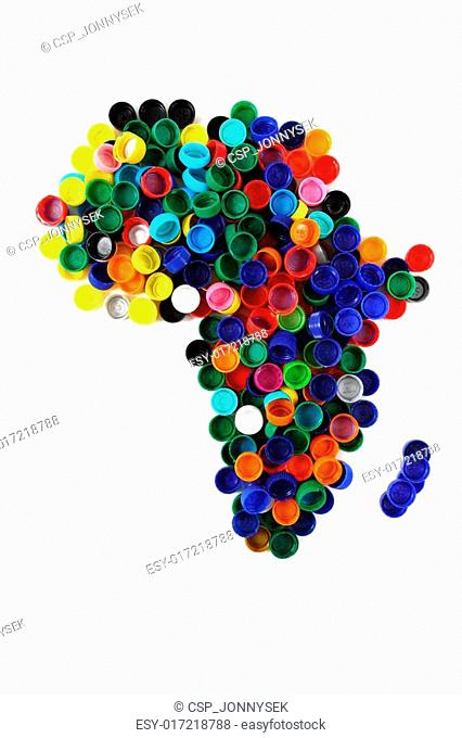africa map from color plastic caps