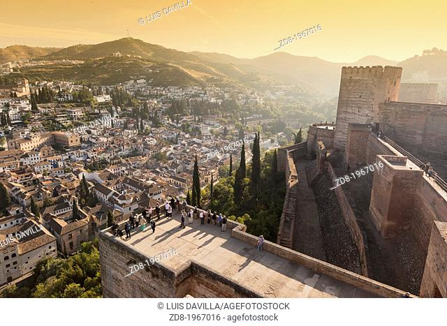 albaicin town in granada from alhambra