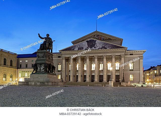 National theatre with Max's Joseph monument on the Max's Joseph square, Munich, city centre, Upper Bavaria, Bavaria, Germany