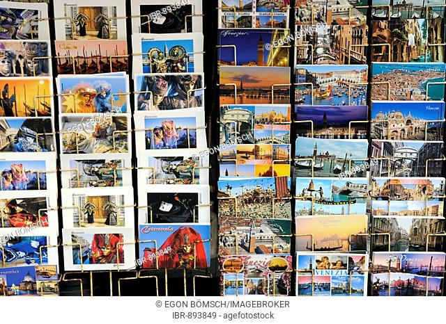 Postcards, sales booth on Piazza San Marco Square, Venice, Veneto, Italy, Europe