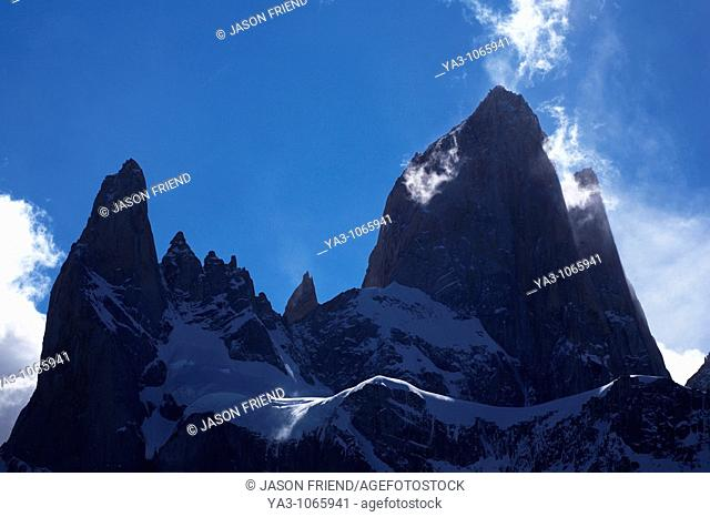 Argentina, Patagonia, Los Glaciares National Park  Storm clouds clear from the peak of the Fitz Roy and surrounding mountains