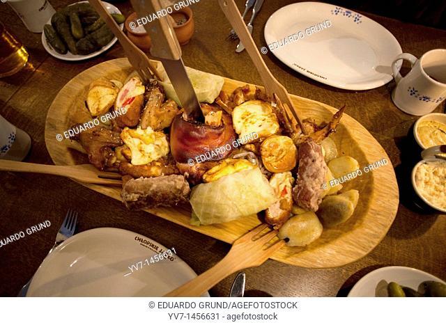 Traditional polish food in 'CHLOPSKIE JADLO' Restaurant  Variety meats  Warsaw, Mazovia, Poland, Europe