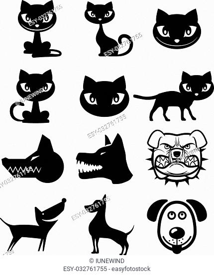 Cats and dogs different cartoon style vector icon set