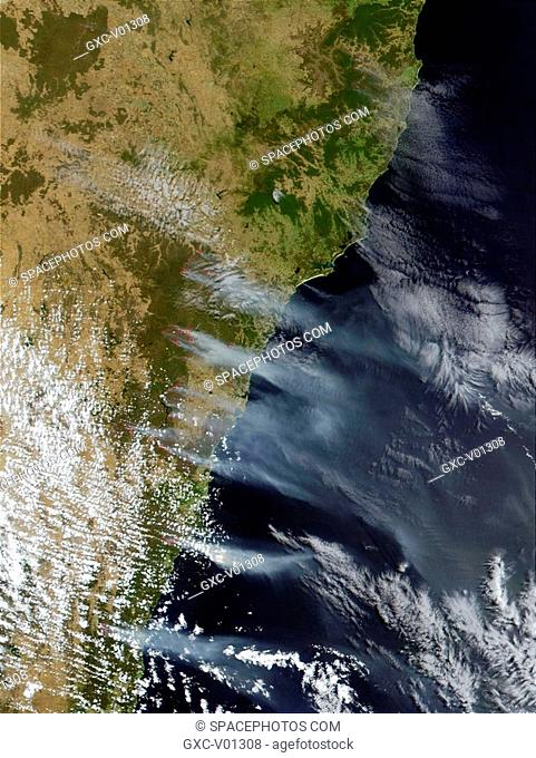 Bush fires surrounding Sydney continue to burn feverishly, and vast smoke plumes ascend from the southeastern coastline of Australia and extend out over the...