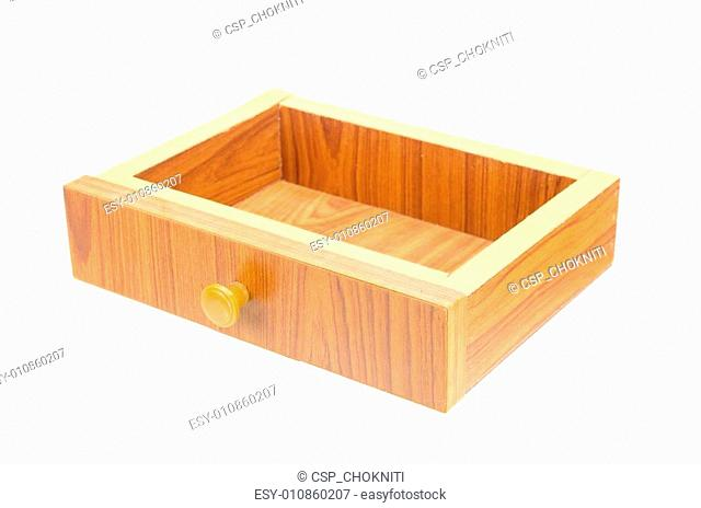 wooden Compartment isolated on white with clipping path