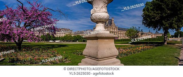 Paris, France, Panoramic Scenic in Tuileries Garden, Jardin des Tuileries, With Louvre Museum, Spring