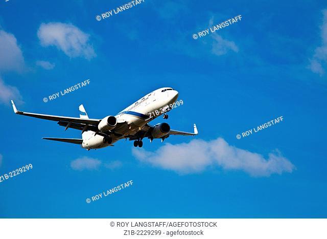 An EL AL Israeli jet landing at Geneva Airport, Switzerland