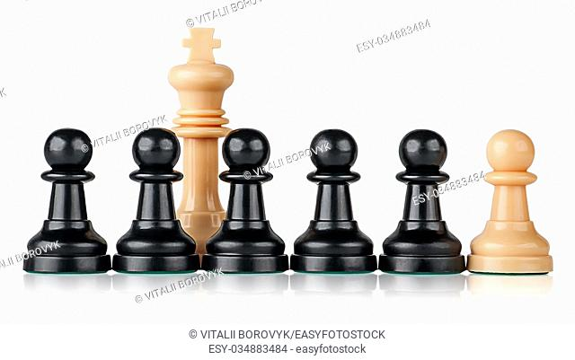 White chess king and pawns isolated on white background