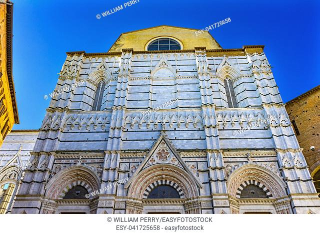 Facade Outside Bapistry Cathedral Church Siena Italy. Completed from 1215 to 1263