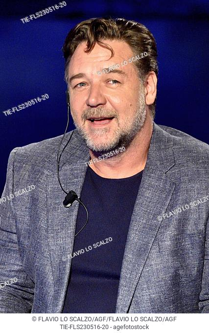 Russell Crowe during the interview at tv show Che tempo che fa, Milan, ITALY-22-05-2016