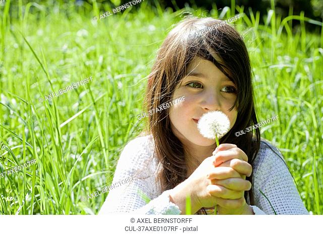 Girl smelling dandelion in tall grass