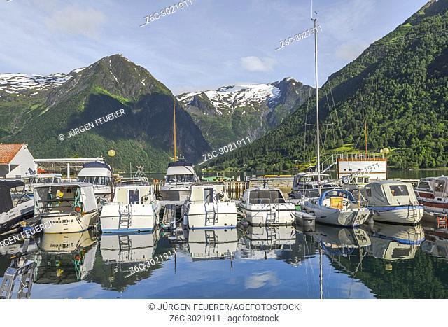 boat harbour of Balestrand, Norway, with mountain scenery, bay of Esefjorden, Sognefjorden