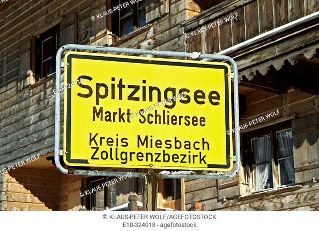 Town sign: Spitzingsee, Markt Schliersee, Kreis Miesbach Zollgrenzbezirk. Upper Bavaria. Germany