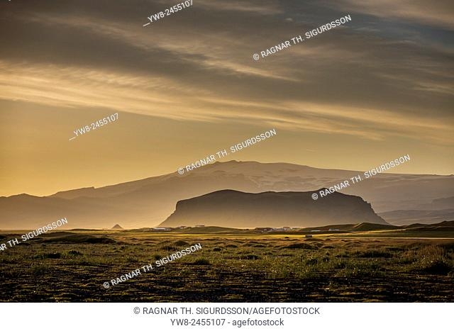 Sunset over Eyjafjallajokull Glacier, Iceland