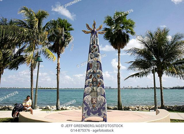 Florida, Miami, Margaret Pace Park, Biscayne Bay, Palm Trees, urban park, mosaic, art throne, art in public places, waterfront, palm trees, man, cyclist, relax