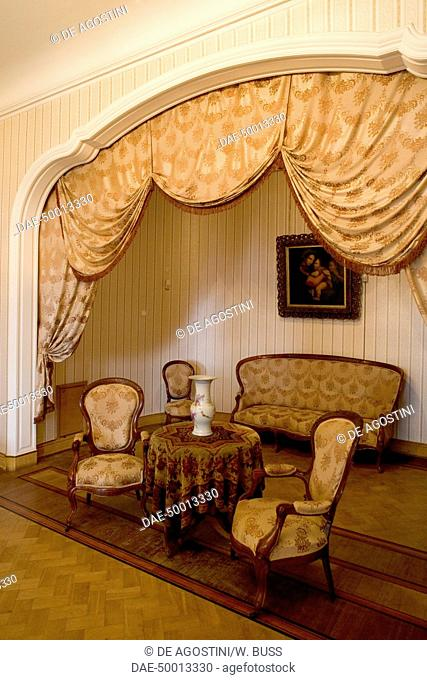 Living room in the Louis XIII style chateau ordered to be finished by Tsar Alexander III, 1881-1900, designed by Messmacher Maximilian (1842-1906), Masandra