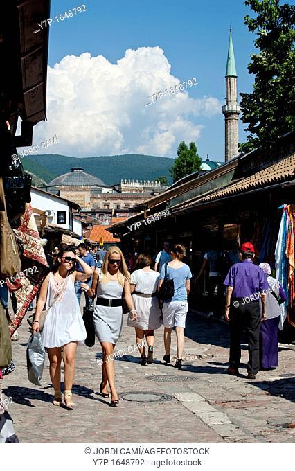 Bascarsija bazaar and City Hall  National and University Library  at background, Sarajevo Bosnia- Herzegovina  Balkans Europe