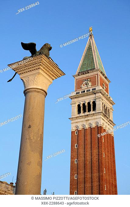 St. Mark's campanile and Lion statue, Venice, Italy