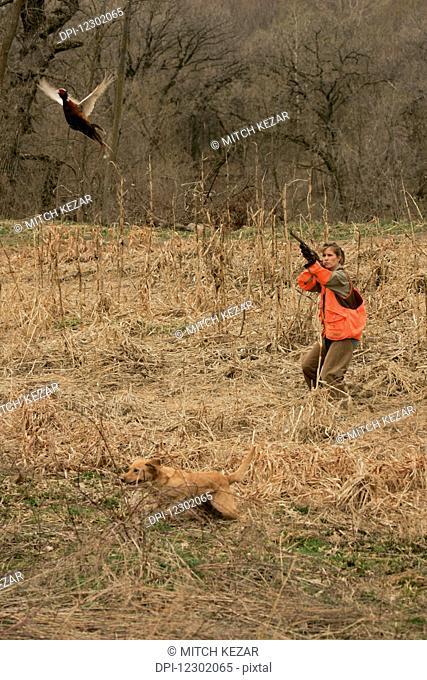 Female Upland Hunter Aiming At Pheasant