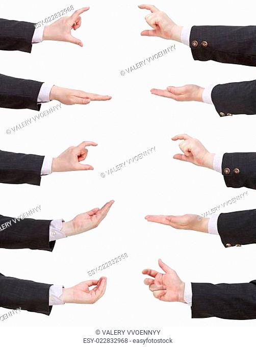 set of businessman hands showing sizes