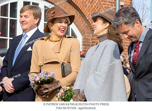 King Willem-Alexander (L) and Queen Maxima (2ndL) of The Netherlands and Crown Prince Frederik (R) and Crown Princess Mary (back) of Denmark visit Samso Island